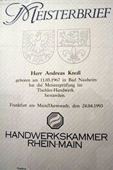 Meisterbrief Andreas Knoll von 1993